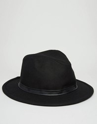 Asos Fedora With Faux Leather Band Black Grey