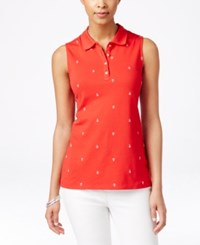 Charter Club Sleeveless Anchor Embroidered Polo Shirt Only At Macy's Red Barn