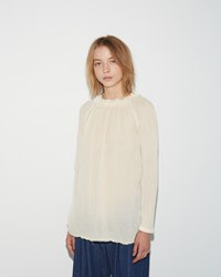 Raquel Allegra Shirred Collar Blouse Champagne