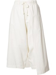 Y's 'Left Wrap' Trousers White