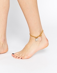 Asos Cord Anklet With Leaf Charm Brown