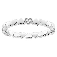 Thomas Sabo Glam And Soul Diamond Pave Heart Stacking Ring Silver