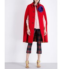Gucci Pleated Wool Cape Red