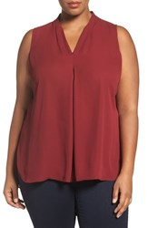 Vince Camuto Plus Size Women's Inverted Front Pleat Blouse Malbec Red