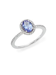 Effy Final Call Tanzanite Diamond And 14K White Gold Halo Ring Blue