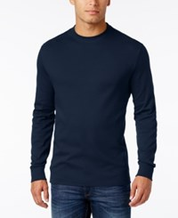 John Ashford Men's Big And Tall Interlock Crew Neck T Shirt Only At Macy's Navy Blue