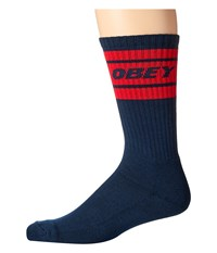 Obey Cooper Deuce Socks Navy Red Men's Crew Cut Socks Shoes Multi