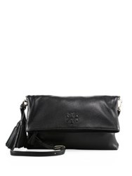 Tory Burch Thea Foldover Messenger Leather Clutch French Grey Black