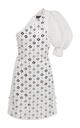 David Koma One Shoulder Embroidered Mini Dress White