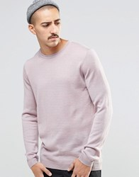 Asos Crew Neck Jumper In Merino Wool Pink Twist