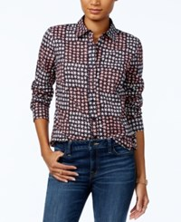 Tommy Hilfiger Colorblocked Star Print Shirt Only At Macy's Flamingo Multi