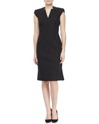 Zac Posen Cap Sleeve V Neck Day Dress Black