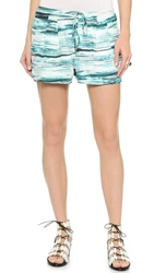Haute Hippie Summer Shorts Teal Multi