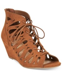 Material Girl Harlie Lace Up Demi Wedge Sandals Only At Macy's Women's Shoes
