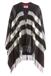 Burberry Shoes And Accessories Printed Cashmere Merino Wool Cape Blue