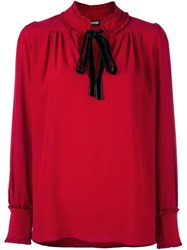 Roberto Cavalli Pussy Bow Blouse Red