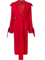 Christian Siriano Long Belted Coat Red