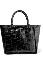 Alexander Mcqueen Inside Out Croc Effect Leather Tote Black