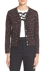 Women's Marc By Marc Jacobs Leopard Jacquard Cardigan Fuchsia Multi