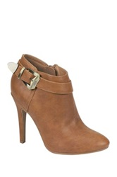 Nature Breeze Gabriella Buckle Stiletto Bootie Brown