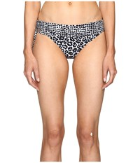 Stella Mccartney Mixed Animal And Elastic Fold Down Bikini Bottom Midnight Blue Leopard Giraffe Print Women's Swimwear Gray