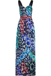 Matthew Williamson Mosaic Embellished Printed Silk Chiffon Gown Blue