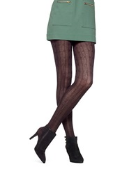 Hue Cable Knit Sweater Tights Black