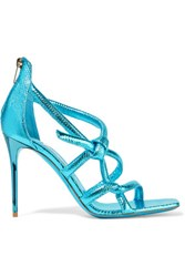 Jimmy Choo Knot Metallic Textured Leather Sandals Turquoise