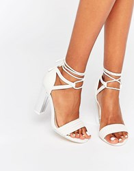 Call It Spring Aralle Block Heel Braided Sandal Ice White