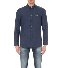Diesel S Asak Regular Fit Linen Shirt Navy