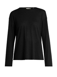 Vince Long Sleeved Round Neck Top Black