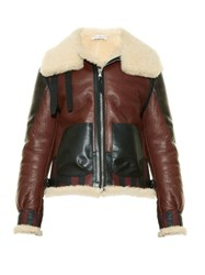 Altuzarra Antioch Leather And Shearling Jacket Burgundy