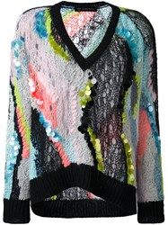 Versace Jagged Multi Material Loose Jumper Multicolour