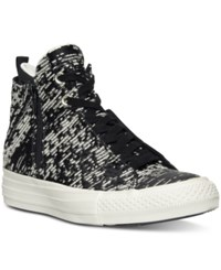 Converse Women's Selene Winter Knit High Top Casual Sneakers From Finish Line Black Light Gold Egret