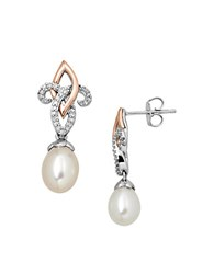 Lord And Taylor Sterling Silver With 14Kt. Rose Gold Pearl Diamond Drop Earrings