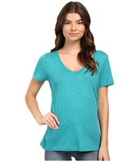 Hurley Staple Perfect V Tee Heather Rio Teal Women's T Shirt Blue
