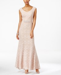 Alex Evenings Cap Sleeve Lace Mermaid Gown Cameo Pink