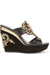 Rene Caovilla Embellished Leather And Suede Wedge Sandals Black