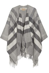 Burberry London London Checked Cashmere And Merino Wool Blend Wrap Gray
