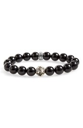 Men's Room 101 Polished Agate Skull Bead Bracelet
