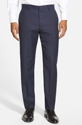 Hugo 'Hamen' Flat Front Solid Wool Trousers Navy