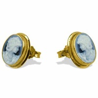 Del Gatto Agate Stone Cameo Earrings Blue