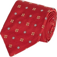 Isaia Medallion And Floral Pattern Neck Tie Red
