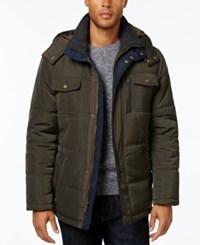 London Fog Big And Tall Hooded Puffer Parka Olive