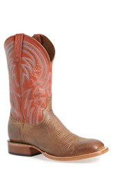 Lucchese Men's 'Alan' Western Boot Tan Brick Red