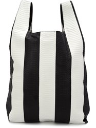 Hayward Striped Shopper Tote Black