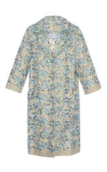 Luisa Beccaria Linen Embroidered Coat Blue