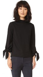 Tibi Mock Neck Tie Sleeve Top Black