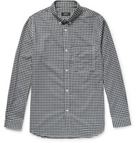 A.P.C. Slim Fit Button Down Collar Gingham Cotton Shirt Navy