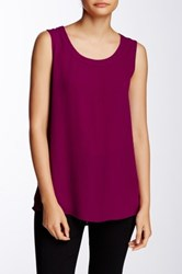 Pleione Solid Pleated Back Tank Petite Red